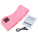 Sports Sweatproof Headphone Headband with Earplugs Bluetooth Stereo Speaker Mic Pink