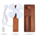 Adjustable USB Port Fan Cooler Wood Stand with Line Switch Phone Holder Coffee