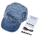 Adjustable Flat Hat Bluetooth Cap Wireless Headset Headphone Speaker SK-H109B  Dark blue denim Washed blue denim