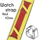Genuine Leather Loop Milanese Magnetic Loop Stainless Watch Band For Apple Watch Red 42mm