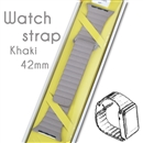 Genuine Leather Loop Milanese Magnetic Loop Stainless Watch Band For Apple Watch Khaki 42mm