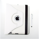 360 Rotating Magnetic Leather Case Smart Cover Stand for New iPad 3/iPad 2  White