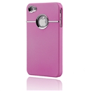 Deluxe Pink Case Cover With Chrome For iPhone 4 4G 4S